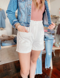 White Shorts with Paper-bag Waist