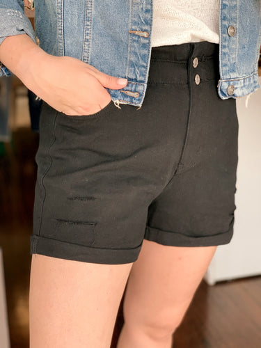 Vintage Wash Distressed Black Denim Shorts
