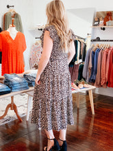 Load image into Gallery viewer, Smocked Leopard Midi-Dress