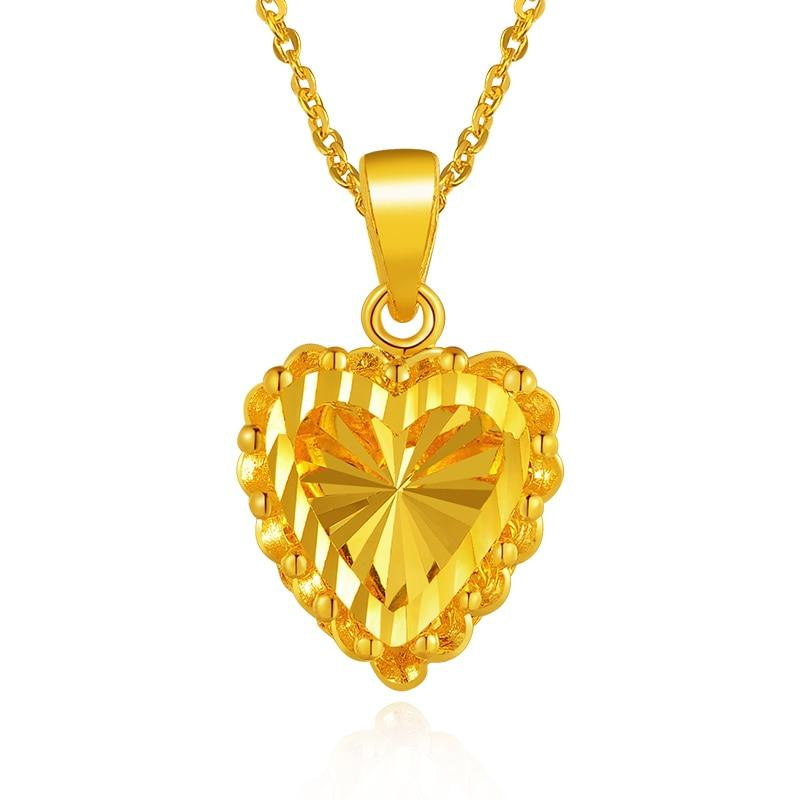 dc73ee6864f05 24K Shiny Heart Pure Gold Pendant Real AU 999 Solid Gold