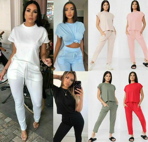 Womens Puff Sleeve Tracksuit Ladies Short Frill Top Bottom Ruched Loungewear Set