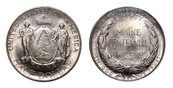 1920 Maine Obverse & Reverse. Obverse features a shield with a pine tree that sits below the surfaces of the coin. There is also a moose, and two men: one that carries a scythe depicting Agriculture, and the other that leans on an anchor which represents