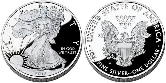 2012 Obverse & Reverse Proof Silver Eagle. The Obverse depicts a walking lady liberty with the sun rising. The Reverse depicts an eagle holding a olive branch and arrows