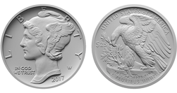 2017 1 oz Palladium Eagle; Mercury Dime Obverse & Eagle Reverse