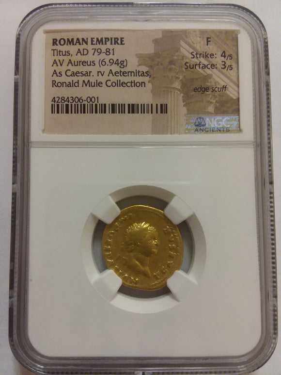 Titus Gold Roman Coin Obverse NGC Graded F