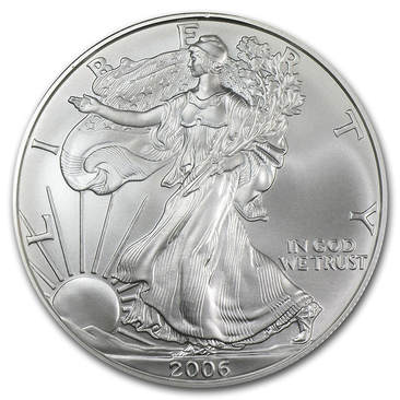 2006 Burnished Silver Eagle coin Obverse. Depicts Lady Liberty Walking with her hand our and the sun is rising. The coin reads: Liberty, In God We Trust, and 2006