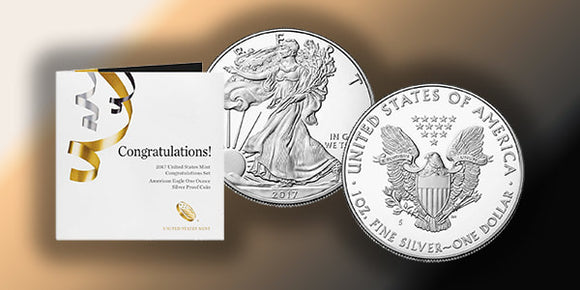 2017 American Silver Eagle Obverse & Reverse and a Congratulations set original government packaging.