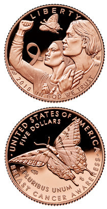 2018 Rose Gold Breast Cancer Awareness Coin. Obverse with 2 women and a butterfly. The Reverse has a butterfly on it.