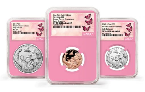 2018 Breast Cancer Awareness Commemorative Coin Set NGC Pink Core Label