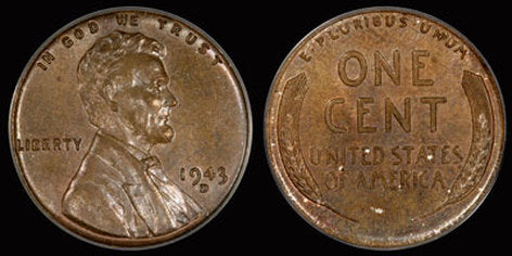 1943 D Copper Lincoln Error Penny Obverse & Reverse
