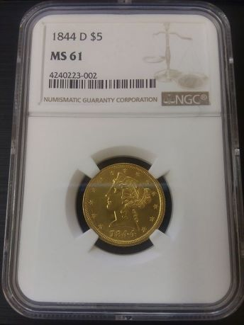 1844-D (Dahlonega Mint) $5 Gold Eagle Liberty Head NGC MS61 Obverse