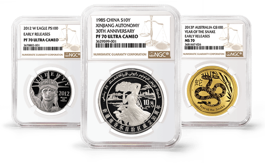 2012 Platinum Eagle, 1985 Chinese Autonomy Coin, 2013 Year of the Snake Australian Coin, all graded by NGC in slabs.