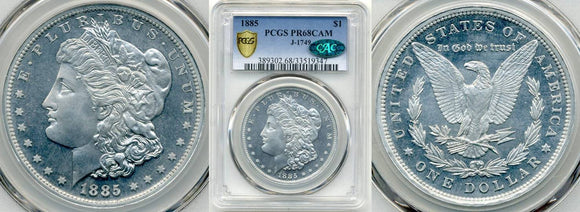 1885 Aluminum Morgan Dollar Obverse, Reverse, and in a PCGS holder