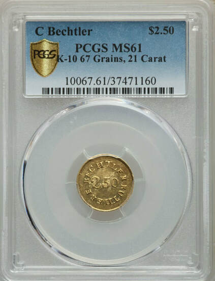 $2.50 1830s Gold Coin from the private Bechtler Mint Obverse graded by PCGS.