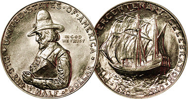 1920 Pilgrim Commemorative Half Dollar Obverse & Reverse. Obverse features profile image of Governor William Bradford praying. The reverse features the Mayflower at sea.