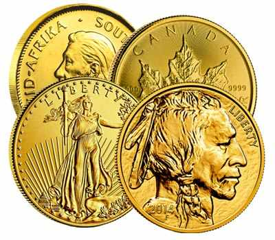 4 Gold Coins: South African Krugerrand, Canadian Maple Leaf, American Gold Eagle, and American Gold Buffalo.