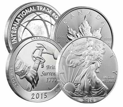 4 Silver Coins: Canadian Maple Leaf, 2015 Saratoga Silver Quarter, American Silver Eagle, International Trade Round.