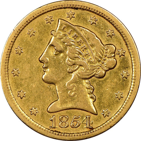 1854 S $5 Gold Liberty Obverse Coin