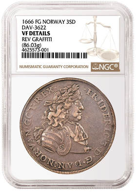 1666 Norwegian Coin in NGC SLAB. Frederik the 3rd on the Obverse.