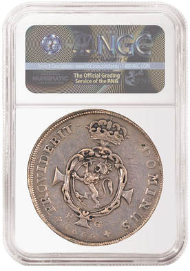 1666 Norwegian Coin in NGC SLAB. Reverse of the coin with graffiti.