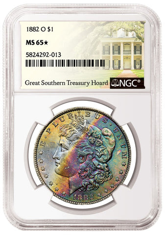 1882 O Rainbow Toned Morgan Dollar Obverse NGC MS65 Star Great Southern Treasury Hoard