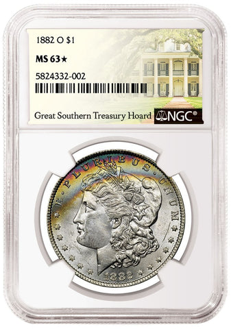 1882 O Rainbow Toned Morgan Dollar Obverse NGC MS63 Star Great Southern Treasury Hoard