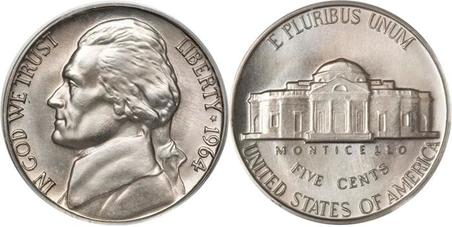 1964 Jefferson Nickel Obverse & Reverse