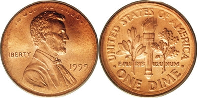 Lincoln Penny coin muled with Roosevelt Dime Reverse Design.