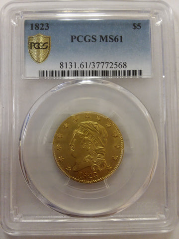 1823 $5 Capped Bust Half Eagle Obverse PCGS MS61