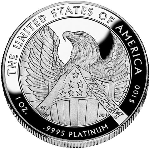 2007 Platinum Eagle Reverse side designed by Thomas Cleveland. It reads: The United States of America 1 oz. .9995 Platinum $100