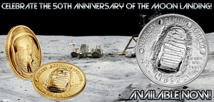 Apollo 11 Commemorative Gold & Silver coins. Background image features and astronaut on the moon.