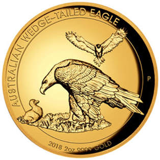 2 oz Gold Perth Mint coin designed by John Mercanti. It features a wedge-tailed eagle feeding its offspring with another eagle in the distance. The coin reads: Australian Wedge-Tailed Eagle; 2018 2 oz .999 Gold.