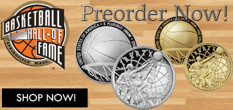 2020 Basketball Hall of Fame Gold & Silver Proof/Uncirculated coins. There is the basketball hall of fame logo in the top left corner. There is a shop now button in the bottom left corner.