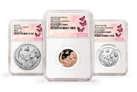 2018 Breast Cancer Awareness Commemorative Coin Set NGC White Core Label