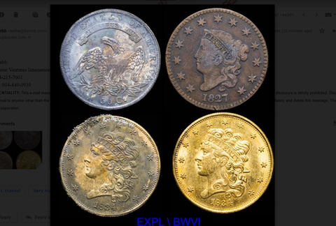 4 Shipwreck Gold Coins recovered from the 1838 Pulaski Steamship. 3 Coins are rusted brown and blue, while 1 gold coin is in great condition.