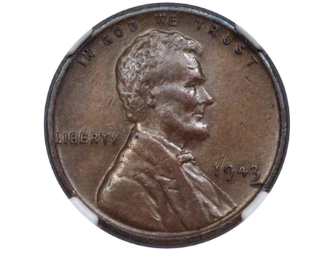 1943 extremely rare copper Lincoln penny obverse