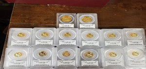 Gold eagles encapsulated in plastic pcgs holders.