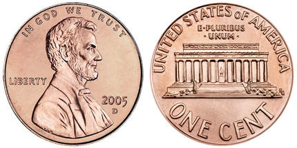 2005 D Lincoln Memorial Penny Obverse & Reverse