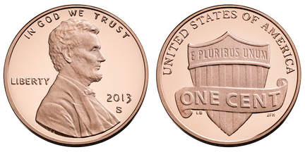 2013 S Lincoln Penny Shield Obverse & Reverse