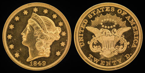 1849 Double Eagle Gold Coin Obverse and Reverse. Obverse features stars surrounding a profile of lady liberty's head. The Reverse features an eagle and shield and reads: United States of America, Twenty D.