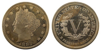 1883 Liberty V Nickel Obverse & Reverse. Obverse features Lady Liberty Bust Profile surrounded by stars. Reverse features Roman Numeral V surrounded by wreath, United States of America, and E Pluribus Unum