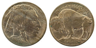 1918 Buffalo Nickel Obverse & Reverse.