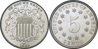 "Shield Nickel Coin Obverse & Reverse. Obverse features ""In God We Trust"" A union shield, and 1883. The Reverse features a 5 surrounded by stars and United States of America."