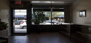 Our storefront location looking out to the street.