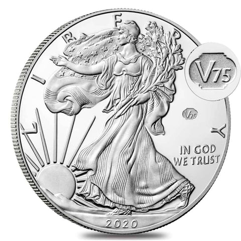 American Silver Eagle V75. A regular proof silver eagle obverse, but with a V75 privy mark to the right of walking liberty.