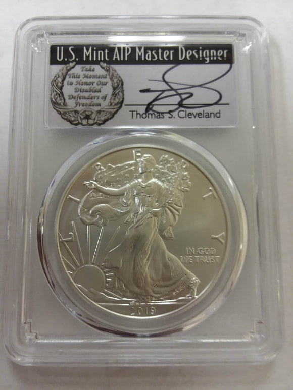 2019 W Uncirculated American Silver Eagle Obverse in a PCGS Holder, signed by Thomas Cleveland. The label has a wreath and reads: