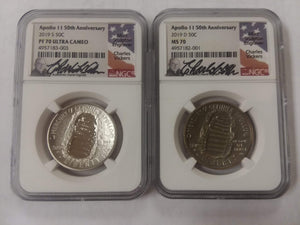 2 Coin 50 c Apollo Clad Coins. One is a proof coin, the other is a Uncirculated coin. It features the famous boot print of the first man on the moon. Both are in an NGC white holder with Charles Vickers' face and signature.