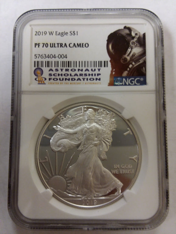 2019 Proof American Silver Eagle Obverse in an NGC Holder, Astronaut Scholarship Fund Label features profile image of an astronaut.
