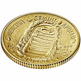 $5 Gold Uncirculated Apollo Coin Obverse. Features concave design with the famous boot print from the moon. The text around the print reads: Mercury, Gemini, Apollo.