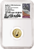 $5 Gold Apollo Proof Coin NGC PF70 Early Releases signed by Charles Vickers